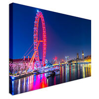London Eye Pink At Night Canvas Wall Art Picture Print
