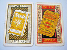 VINTAGE PLAYING CARDS 2 SINGLE SWAP CARDS WILLS STAR & GOLD CIGARETTES 1920s