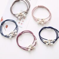 5Pcs Women Girl Hair Band Ties Pearl Rope Ring Elastic Hairband Ponytail Holder.