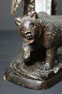 Antique Black Forest Bear with Thermometer, wood, 1880 - 1910 Germany