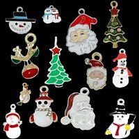 Xmas Mixed Silver Plated Enamel Pendant Charms Christmas Santa Tree Snowman
