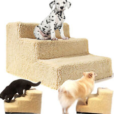 Beige Portable Pet Stairs Indoor Ramp for Animal Cat Dog Ladder Removable Cover