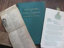 1st. Edition 1938 Recolletions of Rural Vermont by Edna Faith Connell SIGNED
