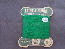 R448 Mercerie ancienne carte fil LAINE SAINT PIERRE N°214 vert clair 4 fils