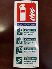 FIRE extinguiser ABC signo de polvo 200mm X 75mm Auto Adhesivo/Adhesivo con respaldo