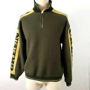 Green Bay Packers Pullover Sweater NFL Tundra Canada Fleece 1/4 Zip Mens M Retro
