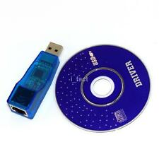 Blue USB 2.0 Male to Lan RJ45 Ethernet Network Adapter Dongle 10M/100 Mbps US