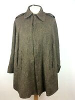 Womens Herringbone Tweed Button Up Brown Cape Shawl Size 14