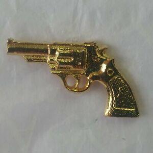 Pistol Lapel Hat Jacket Pin Gold Color Metal 6 Shooter Hand Gun