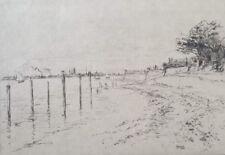 Gravure originale Eau Forte Gustave Leheutre Nabis paysage arbres mer XIX XXè