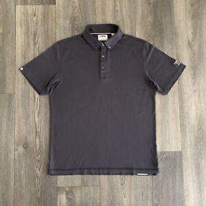Linksoul Tempus Fugit Men's Gray Luxury Cotton Golf Polo Shirt Size Medium