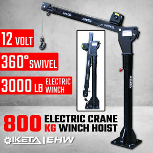 800kg Electric Hoist Winch Crane 12V Swivel Car Truck UTE Lift 360° Pick up