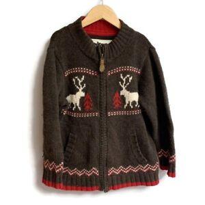 Vintage Osh Kosh Boys Christmas Winter Moose Sweater Zip Neck Size 6