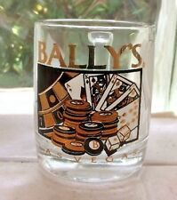 BALLY'S ~ LAS VEGAS ~ SHOT GLASS *WITH HANDLE* POKER CHIPS CARDS ROULETTE