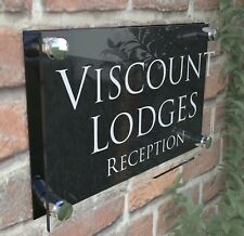 Business reception signs plaque acrylic personalised hotel B&B PR28WB