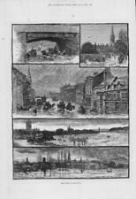 1883 Antiguo impresión Wiltshire Salisbury inundaciones Puente Calle grúa City (150)