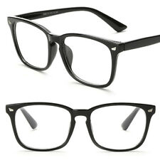 Clear Lens Black Frame Eye Glasses Designer Fashion Nerd Geek Mens Womens New