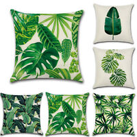 Green Tropical Cushion Cover Rainforest Palm Banana Leaf Pattern Home Pillowcase