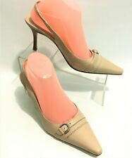 Karen Scott Beige leather Shoes Size 8.5 Back Strap Pointed Toe Business Casual