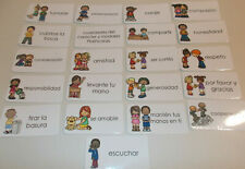 23 Manners in Spanish themed Flash Cards.  Preschool Picture and Word Flashcards