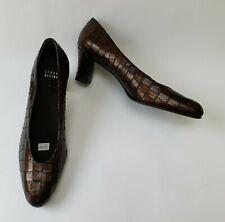 Stuart Weitzman Shoes Heels Pumps Bronze Brown Croc Embossed Spain Womens Sz 9 M