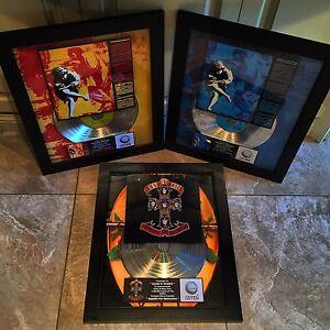 3 VERY RARE Guns N' Roses Million Record Sales Music Awards Album Disc LP Vinyl