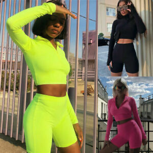 Women 2 Piece Co Ord Set Summer Crop Top Shorts Pants Active Gym Sport ##