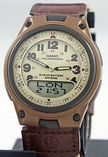 Casio AW-80V-5BV Brown Databank Watch Cloth Band 10 Year Battery World Time