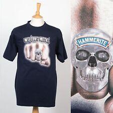 HAMMERITE METAL PAINT DARK BLUE SKULL T-SHIRT DIY HANDY MAN PAINTER WORK SHIRT L