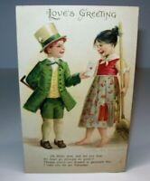 Valentine's Day Postcard Ellen Clapsaddle Irish Boy Love Greetings Original 1909