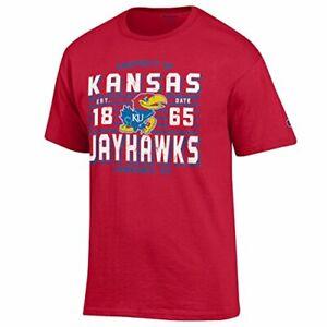 Champion NCAA Men's Lateral Short sleeve T-Shirt , Kansas Jayhawks, Large, Sc...