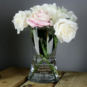 PERSONALISED Clear Engraved GLASS FLOWER VASE Birthday Gifts for Her Women Mummy