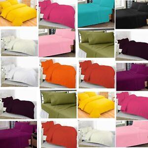 FLAT SHEET New Luxury Plain Dyed FLAT SHEET Polycotton Single Double King S King