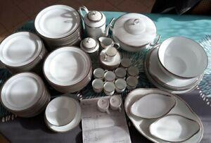 Service de porcelaine de Limoge 93 pièces Chastagner aile platine