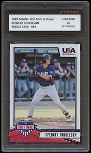 SPENCER TORKELSON 2019 PANINI STARS & STRIPES 1ST GRADED 10 ROOKIE CARD TIGERS