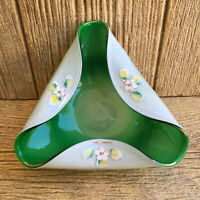 Murano Art Glass Tri Fold Bowl Green Hand Painted Floral Blown Glass Vintage