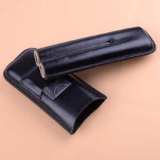 Black 2 Tube Leather Cigar Case Humidor Halter Travel