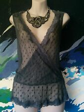 Vintage Style Top- Grey Floral/Polka Dot Lace Crossover Wrap Cami/Singlet- 10/12