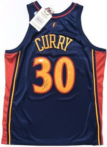 STEPHEN CURRY #30 SIGNED M&N ROOKIE WARRIORS AUTHENTIC BASKETBALL JERSEY PSA/DNA