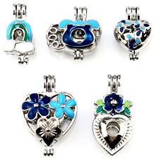 Pearl Cage Locket Enamel Love Heart Charm Diffuser Pendant - 22277