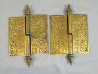 "#2 PAIR ANTIQUE SOLID BRONZE ORNATE VICTORIAN HINGES - 5"" X 5"" -EGYPTIAN PATTERN"