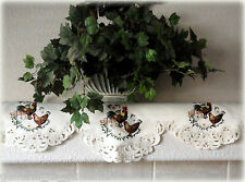 """Tuscan Rooster Lace Doily 53""""x14"""" Mantle Scarf Hen Daisy  Metallic Gold Thread"""