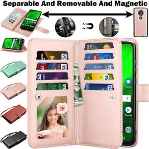 For Motorola Moto G7/Plus/Play/Power/Optimo Maxx Leather Wallet Flip Card Case