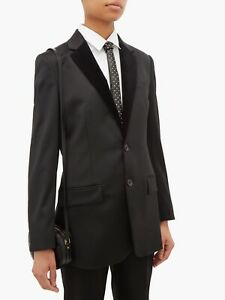 $995 SAINT LAURENT Crystal-Studded Black Leather Tie New in box