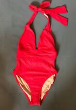 JCrew Plunging Halter One-Piece Swimsuit 6 S Small H2807 Belvedere Red