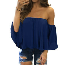 Fashion Womens Off Shoulder Tops Long Sleeve Pullover Casual Blouse Summer Shirt