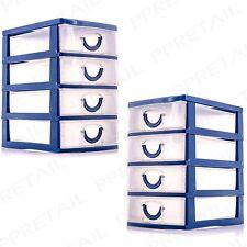 2 x MINI STORAGE TRAYS 4 Drawer Set Jewellery/Craft//Tiny/Small/Organiser/Box