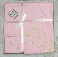 Vintage Kaye Walt Creations Tea Set 4 Napkins Tablecloth 44x44 Pink Embroidered