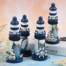 Nautical Wooden Lighthouse Beacon Tower Beach Starfish Shell DIY Crafts Ornam LD