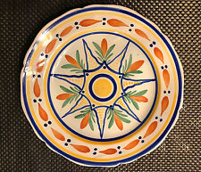 HB QUIMPER VINTAGE FAIENCE GEOMETRIC PATTERNED PLATE early 20th C Henriot